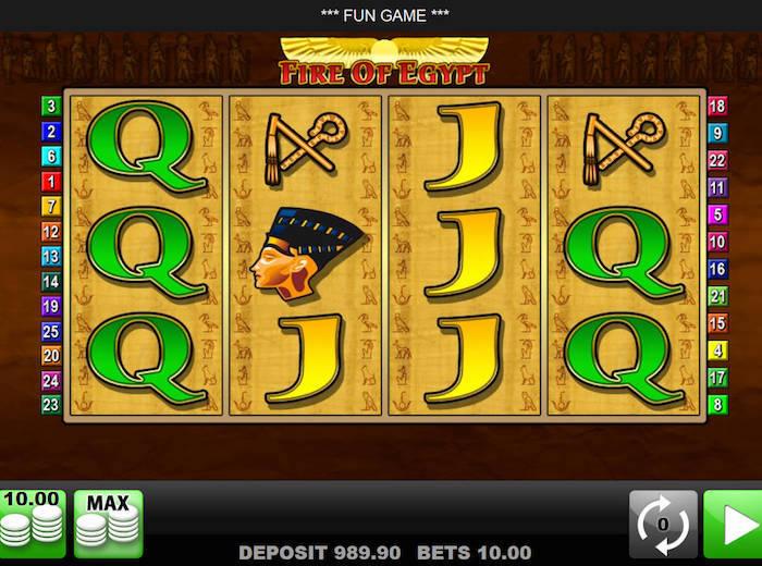 slot machine fire of egypt
